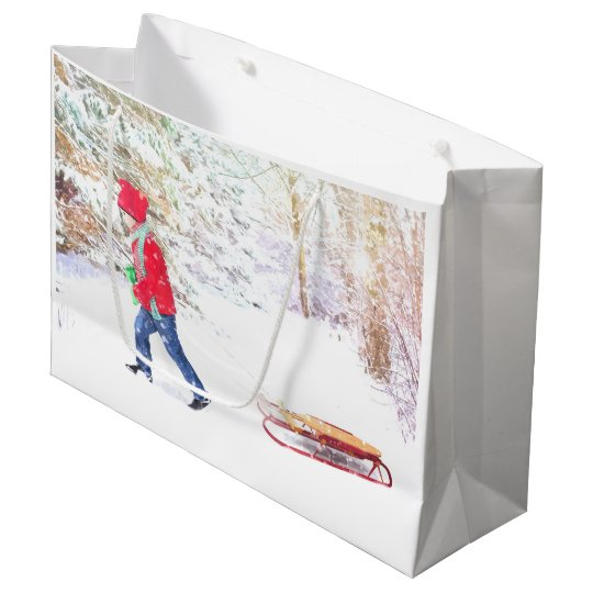 Snow winter sled boy christmas holidays large gift bag