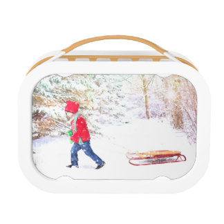 Snow winter sled boy christmas holidays lunch box