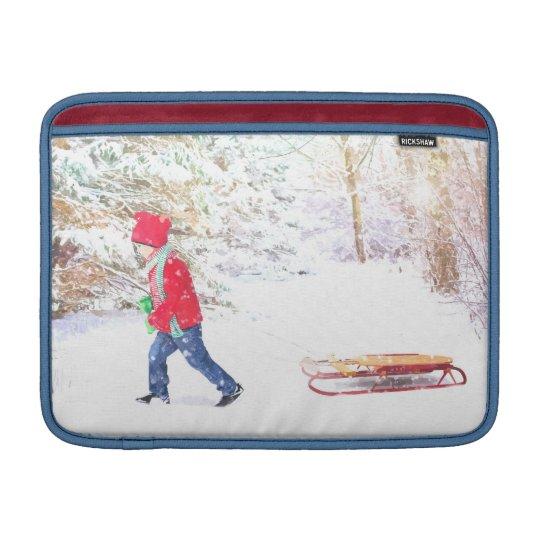 Snow winter sled boy christmas holidays MacBook sleeve