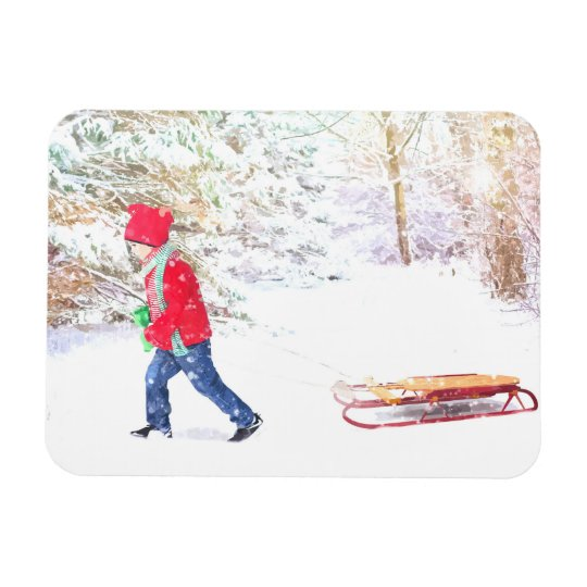Snow winter sled boy christmas holidays magnet