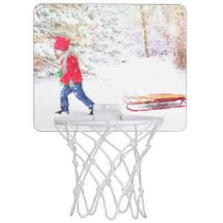 Snow winter sled boy christmas holidays mini basketball hoop