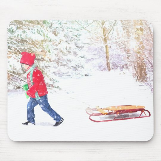 Snow winter sled boy christmas holidays mouse pad