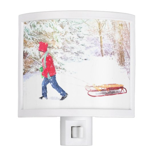 Snow winter sled boy christmas holidays night light