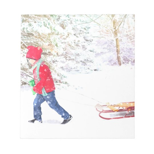Snow winter sled boy christmas holidays notepad