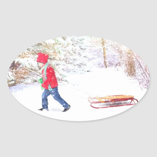 Snow winter sled boy christmas holidays oval sticker