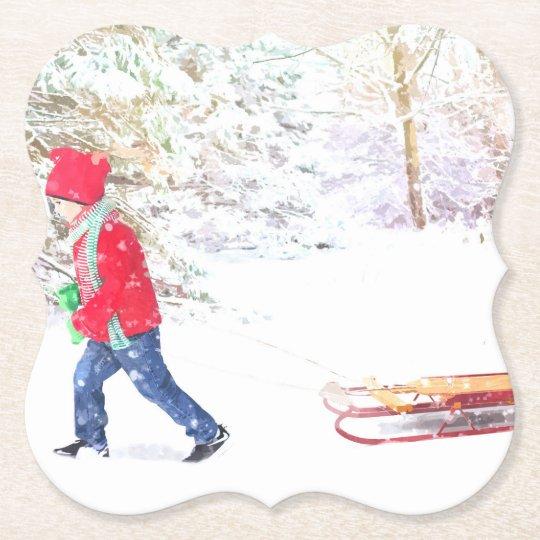 Snow winter sled boy christmas holidays paper coaster