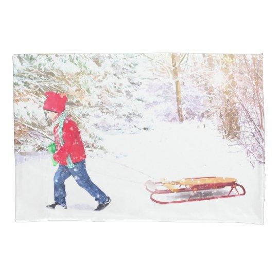Snow winter sled boy christmas holidays pillowcase