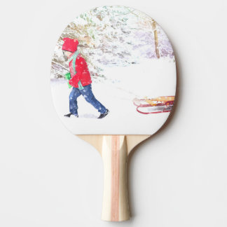 Snow winter sled boy christmas holidays ping pong paddle
