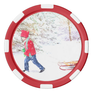 Snow winter sled boy christmas holidays poker chips