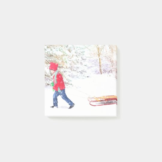 Snow winter sled boy christmas holidays post-it notes