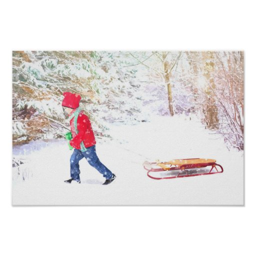 Snow winter sled boy christmas holidays poster