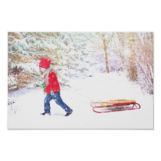Snow winter sled boy christmas holidays poster