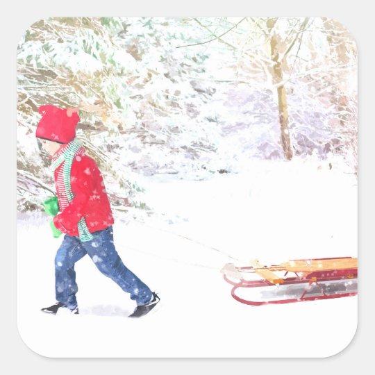 Snow winter sled boy christmas holidays square sticker