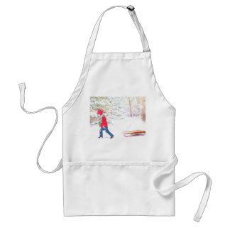 Snow winter sled boy christmas holidays standard apron