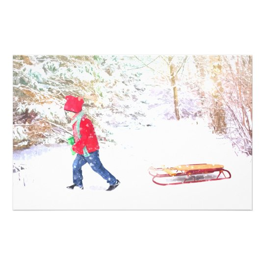Snow winter sled boy christmas holidays stationery