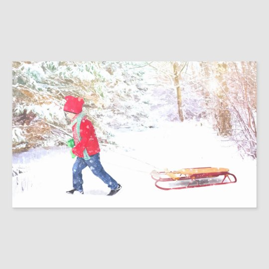 Snow winter sled boy christmas holidays sticker