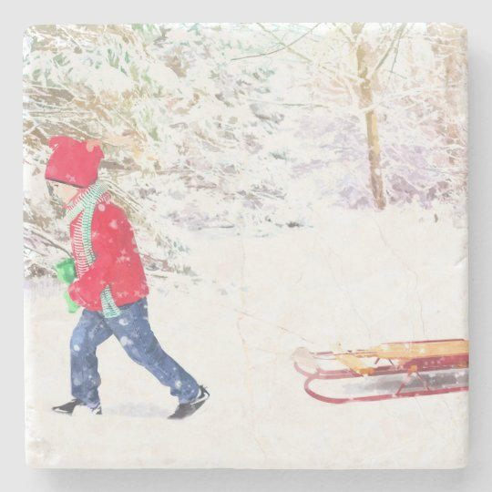 Snow winter sled boy christmas holidays stone coaster