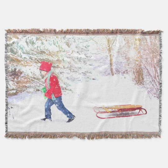 Snow winter sled boy christmas holidays throw blanket