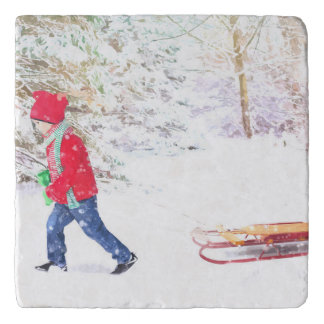 Snow winter sled boy christmas holidays trivet