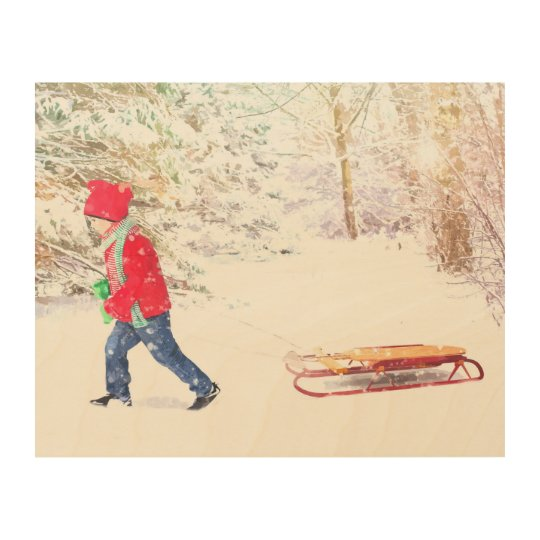 Snow winter sled boy christmas holidays wood wall decor