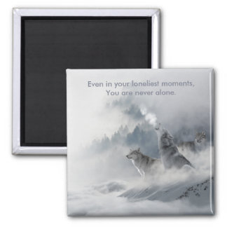 Snow Wolf Print Magnet