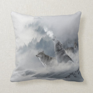 Snow Wolf Print Throw Pillow