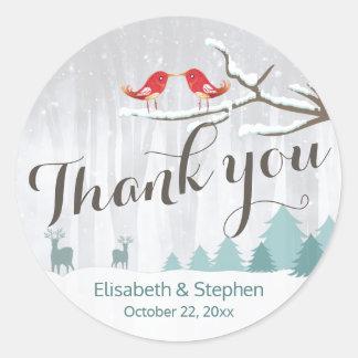 Snow Wonderland Bird Deer Winter Wedding Thank You Classic Round Sticker