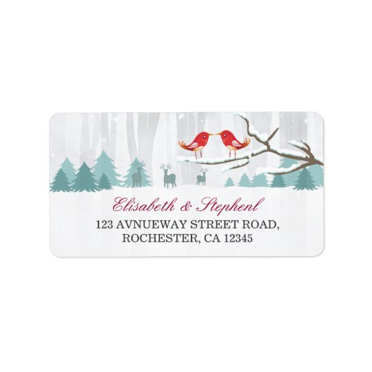 Snow Wonderland Birds Deer Winter Wedding Address Label