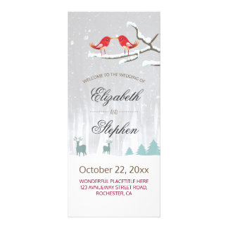 Snow Wonderland Birds Deer Winter Wedding Programs Rack Card Template