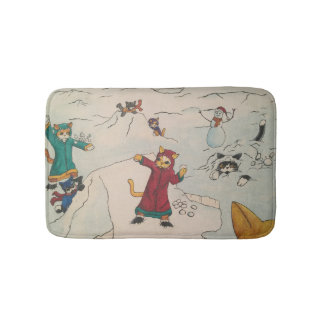 Snowball Fight Bath Mat