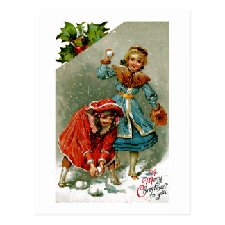 Snowball Fight Postcard
