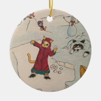 Snowball Fight Round Ceramic Ornament