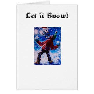 Snowball Fight with Snow People, Let it Snow! Greeting Card