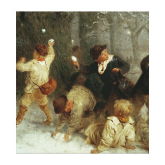 Snowballing, 1865 canvas print