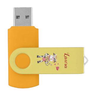 Snowbell in love yellow USB Swivel Flash Drive