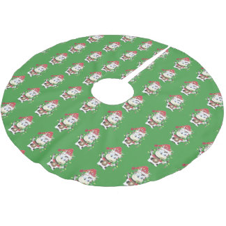 Snowbell pattern green tree skirt brushed polyester tree skirt