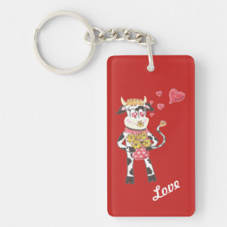 Snowbell the cow in love red keychain