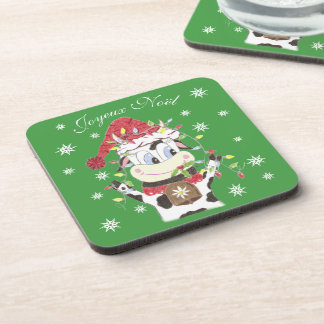 Snowbell the cow & the Christmas lights coasters