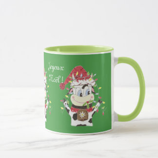 Snowbell the cow & the Xmas llights green mug