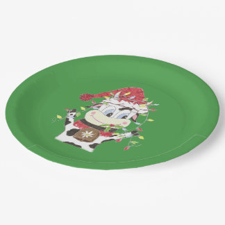 Snowbell & the Xmas lights green paper plates 9 Inch Paper Plate