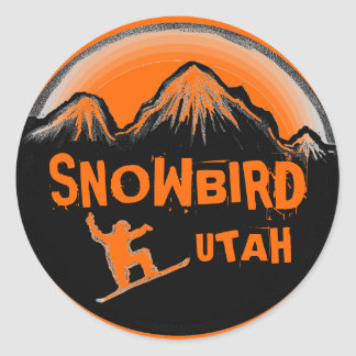 Snowbird Utah orange theme snowboard stickers