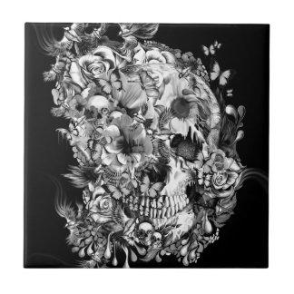 Snowbirds, skull made of birds and flowers tile