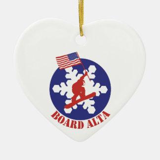 Snowboard Alta Ceramic Ornament