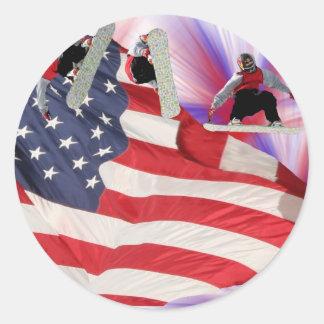 Snowboard American Flag Sticker