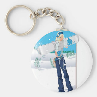 Snowboard Chick Keychain