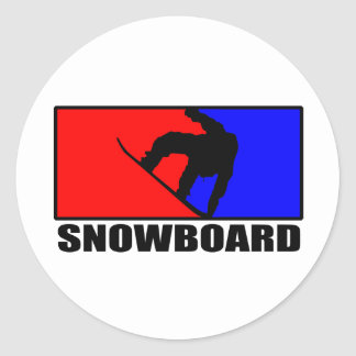snowboard classic round sticker