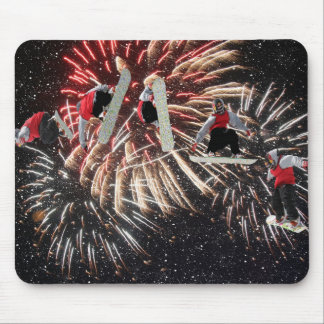 Snowboard Fireworks Mousepad