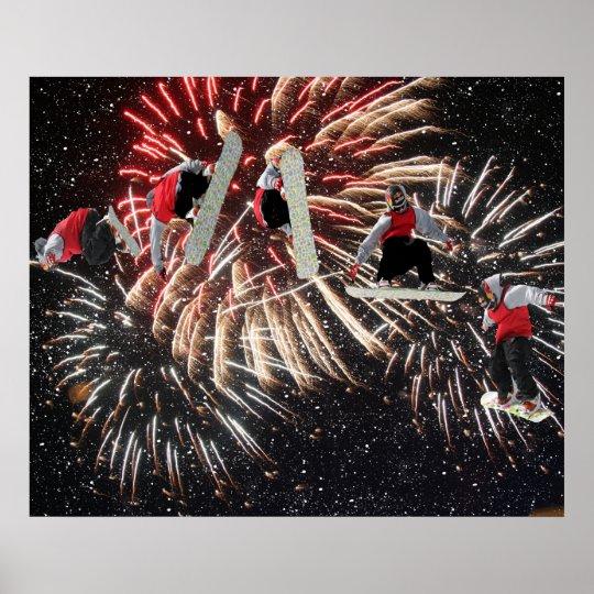 Snowboard Fireworks Stars Poster