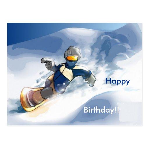 Snowboard-Happy, Birthday!! Postal | Zazzle