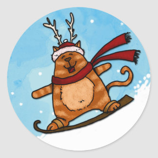 snowboard kitty classic round sticker